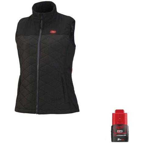 Veste chauffante Milwaukee sans manche femme M12 HBWPLadies-0 Taille S 4933464803 - Batterie M12 12V 3.0Ah - Noir
