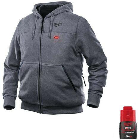 Sweat chauffant Milwaukee Gris M12 HHGREY3-0 Taille XL 4933464355 - Batterie M12 12V 3.0Ah - Gris