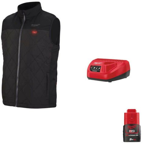 Veste chauffante Milwaukee sans manche M12 HBWP-0 Taille L 4933464372 - Chargeur de batterie 12V M12 C12 C - Batterie M12 12V 3.0Ah - Noir