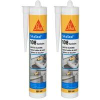 Lot de 2 mastic silicone anti-moisissure SIKA Sikaseal 108 Sanitaire - Blanc - 300ml - Blanc