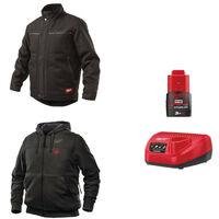Pack MILWAUKEE Taille M - Blouson noir WGJCBL - Sweat chauffant HHBL - Chargeur de batterie 12V M12 C12 C - Batterie M12 3.0 Ah