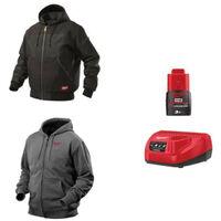 Pack MILWAUKEE Taille XXL - Blouson noir à capuche WGJHBL - Sweat gris chauffant HHBL - Chargeur de batterie 12V M12 C12 C - Batterie M12 3.0 Ah