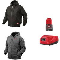 Pack MILWAUKEE Taille S - Blouson noir à capuche WGJHBL - Sweat gris chauffant HHBL - Chargeur de batterie 12V M12 C12 C - Batterie M12 3.0 Ah