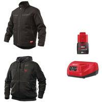 Pack MILWAUKEE Taille S - Blouson noir WGJCBL - Sweat chauffant HHBL - Chargeur de batterie 12V M12 C12 C - Batterie M12 3.0 Ah