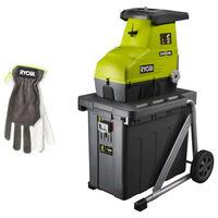 Pack RYOBI Broyeur de végétaux 3000W RSH3045U - Gants de jardinage Cuire Taille L RAC810L
