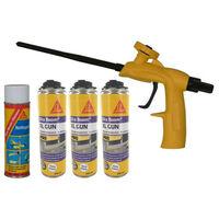 Kit SIKA mousse polyuréthane expansive 500ml x3 - Nettoyant 500ml - Pistolet Foam Gun - Blanc