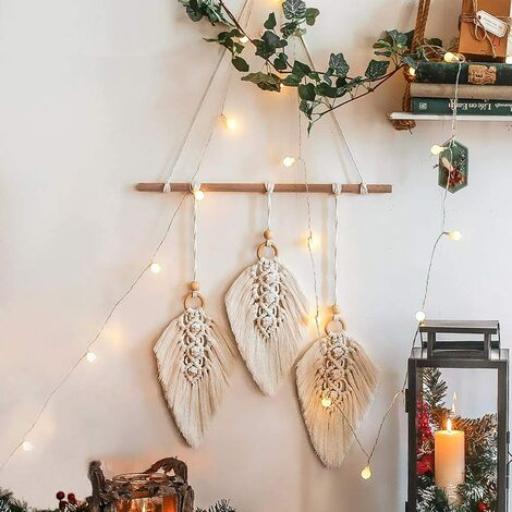Macrame Appeso a parete Arazzo tessuto Boho Decor Foglia Piuma Ornamenti in cotone fatti a mano Decorazioni per appartamenti Soggiorno Arredamento camera da letto