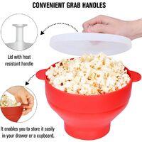 Popcorn ciotola a microonde macchina popcorn macchina popcorn macchina pop cereale contenitore pieghevole silicone aria calda con coperchio e maniglia