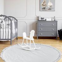Tapis de jeu de couleur unie pour bébé Tapis de rampe doux Couverture de rampe pour nouveau-né Tapis de sol pour chambre de bébé (gris)