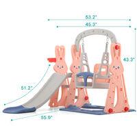KIMBOSMART Toboggan avec Balancoire pour enfant Aire de Jeux 142x135x110cm Rose