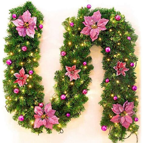 Christmas Tree Garland 270 cm, Artificial Christmas Tree Garland Decorated LED lights, used for christmas tree door stair fireplace (pink) (