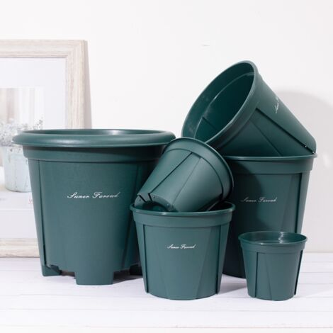 6 sizes of plastic flower pots with trays-6 succulent plants in pot of Aloe Vera, decorative pots for root control containers-
