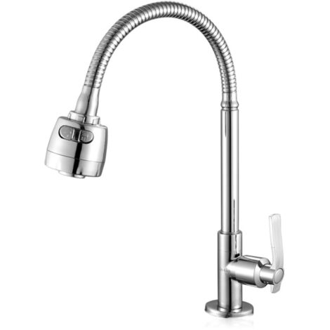 chrome tap rotary kitchen sink 360 with hose spring simple cold water faucet quick opening foam