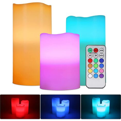 LED Candle Lamp RGB, 3PCS Multicolor Genuine Flame Tea Light Battery LED Candle with Remote Control Timer For Outdoor Indoor Decoration Wedding Christmas [Energy Class A ++]