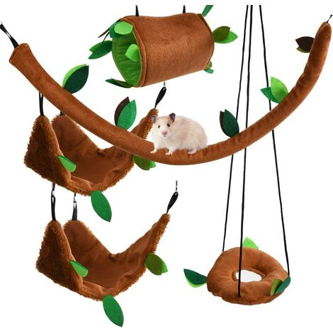 5 PCS Set Hammocks Hamster Swing Tunnel Toy Forest Hamster Pet Glider Pig Hamsters Birds Small Animal for Play and Sleep