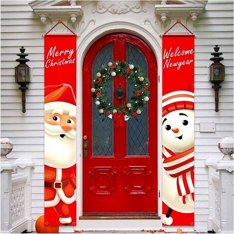 Christmas Porch Decorations Outdoor Door Banner Christmas Decor Set Front Door Merry Christmas Sign for City Country Farm Outdoor Wall Hanging