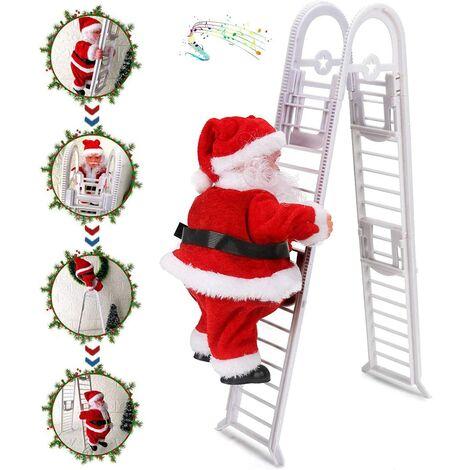 Ladder Santa Claus, Electric Santa Claus Climbing Ladder, Play Music Automatically Climbing Christmas Santa, Ornament Christmas Decoration Figurine Ornament Gifts Party Decor