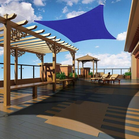 Rectangular Shade Sail 2x2 meters, Waterproof Canopy UV Protection for Garden Outdoor Terrace Patio Pool, with Free Rope (Klein Blue)