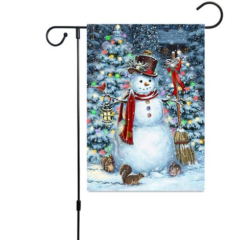 Christmas Decoration Banner, Merry Christmas Double Sided Linen Banner 30 * 45cm, Outdoor Garden Doors and Windows Hanging Banner Christmas Logo, Christmas Gifts (Snowman with Broom)