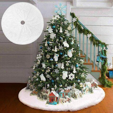 Christmas Tree Rug, Christmas Tree Skirt, Christmas Tree Foot Cover, Plush Christmas Tree Skirt, Christmas Tree Base Rug, for Home Holiday Christmas Party Christmas 78cm (White)