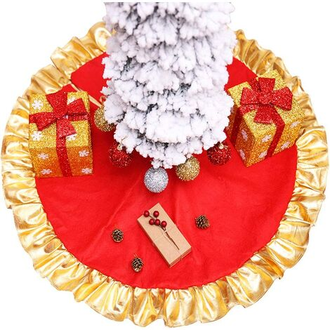 Christmas tree skirt, 90 cm, red with gold border, Christmas tree decorations for holiday parties