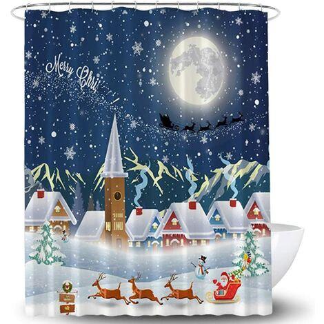 3D Christmas Digital Printing Cartoon Shower Curtain, Polyester Waterproof Partition Curtain, Bathroom Curtain 150 * 180cm)