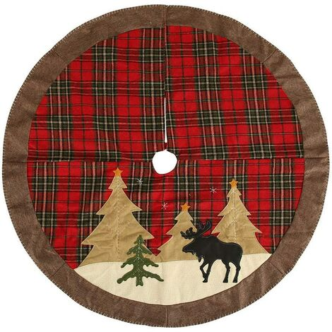 Christmas Tree Skirt, 105cm Snow Tree Foot Cover Christmas Tree Decorations Holiday Rugs Christmas Tree Foot Cover Christmas Tree Skirt Decoration, for Party Christmas Tree Decoration