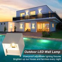 2pcs 12W Interior Wall Light / Outdoor IP65 Wall Light Wall Light Downlight Adjustable 3000K Warm White Wall Lamp for Salon and Room Passage (White) (