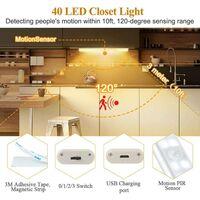 Small Night Cabinet Light Smart Automatic Light Sensor 40Led Rechargeable 4 Speeds Hot Light Full Screen-