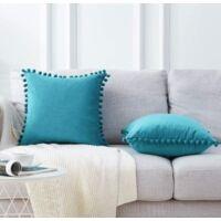 2 pieces of velvet cushion cover decorative pillowcase Super soft color solid color ball pillow house house living room bedroom sofa pillowcase (peacock blue) (45 * 45 cm)