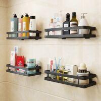 2 pieces shelf storage rack bathroom shower rack stainless steel kitchen spices rack bathroom accessories punching free multifunction black 25 cm--