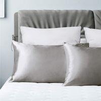 Pillowcase pillowcase pillowcase silk pillowcase silk pillowcase pure pillowcase with bedding pillow, 2pcs (51 * 76cm) gray silver