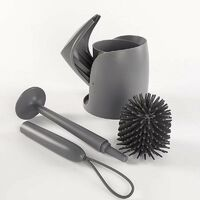 Silicone toilet brush with long-sleeved flexible plastic cleaning brush, 12.6 * 53 cm gray