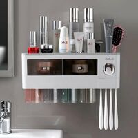 Toothbrush holder, multifunctional multifunction article for the bathroom, automatic toothproof press, storage shelves, bathroom accessories, (four cups-gray)