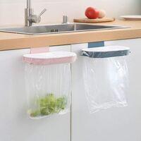 Kitchen Trash Bag, Kitchen Cabinet Bag Bottle Trash Bin Built-in Kitchen Door, Garbage Holder Above Wardrobe Door Bag Bottle Bracket (Dark Blue)