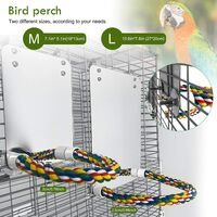 Stainless steel bird mirror with high parrot stand, suitable for small parrots, large