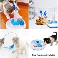 Interactive Indoor Cat Toy with 360 ° Electric Rotating Feather Toy and Bell Ball Intellect Toy Play Pen with Feather Interactive Cat Stick