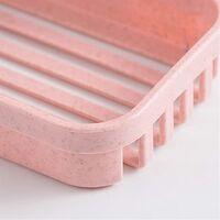 Bathroom Shelf, Bath Soap Dish, Plastic Shelf, Double Wall Drain, Pquide Soap Storage, Double Shelf (Pink)