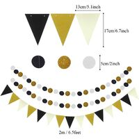 Party Decoration, 21 Black and Gold Hanging Paper Fans, Pompom Flowers, Polka Dot Garlands and Triangular Flags for Birthday Party Graduation Parties Wedding Decoration Happy New Year