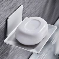 Wall Mounted Soap Dish, Shower Adhesive Soap Dish, Metal Soap Box No Drilling for Bathroom, Kitchen Sponge Holder Silver