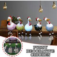 Decorative garden hen, funny resin chicken garden decoration hen modeling animal outdoor garden statue and sculpture fairy garden decoration (yellow 1 piece)