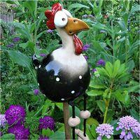 Decorative garden hen, funny resin chicken garden decoration hen modeling animal outdoor garden statue and sculpture fairy garden decoration (black 1 piece)