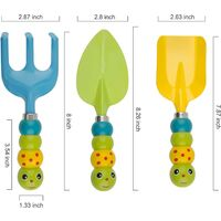 3-piece garden hand tool set, shovels, rake, for garden planting, transplanting, playing on the sandy beach, suitable for children and adults over 3 years old (cartoon caterpillar handle