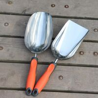 Stainless Steel Flower Shovel Potted Planting Shovel Garden Planting Tools Outdoor Gardening Supplies (Round + Flat)