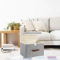 Foldable Canvas Storage Box with Strong Handle for Home, Office, Bedroom, Living Room (Light Gray)
