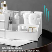 Desktop Makeup Organizer Drawers, Beauty Products Storage Chest Office Desk Organizer Office Stationery Storage Box Makeup Organizer (White)