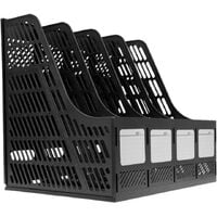 4 * Compartments Polypropylene Office Storage Box File Storage Filing Basket Document Storage Box File Cabinet Storage Modules for A4 Color Paper - Black