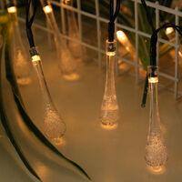 Solar LED Water Drop String Lights Bubble Bead Round Babys Breath Outdoor Waterproof Christmas Decoration Lantern Warm White Solar-5m 20 Lights