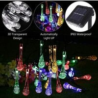 New type of solar string lights, 8 modes of multi-color string lights, outdoor LED decorative lighting for garden and yard, waterproof quad-color solar -5 meters 20 lights