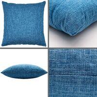 2 Pieces Royal Blue Linen Sofa Pillow Cushion Living Room Cushion Bedside Large Backrest Pillowcase Coreless Cotton and Linen